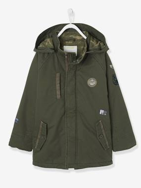Boys-Coats & Jackets-Parka with Hood, Patches & Motifs, for Boys
