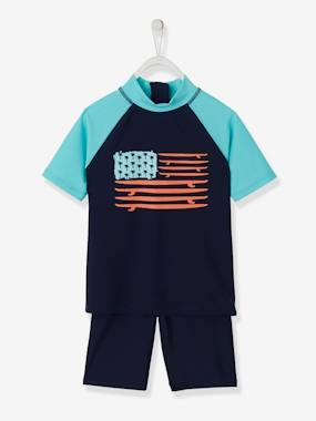 Mid season sale-Boys-Swim & Beachwear-UV Protection Swimsuit Set for Boys, Surfboard Flag Motif