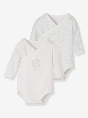 Vertbaudet Sale-Baby-Pack of 2 Organic Cotton Bodysuits for Newborns