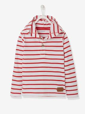 Boys-Tops-T-Shirts-Striped Hooded Top for Boys