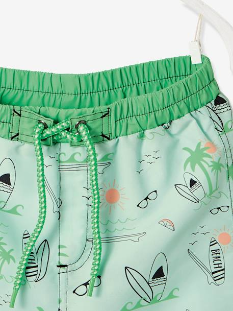 Swim Shorts for Boys, Surfing Motifs & Palm Tree Badge GREEN LIGHT ALL OVER PRINTED - vertbaudet enfant