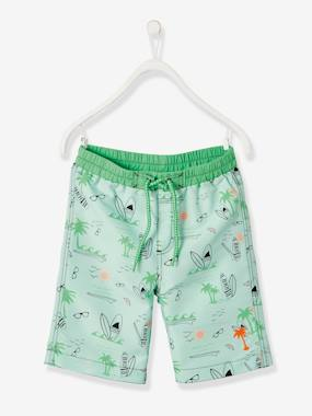 Boys-Swim & Beachwear-Swim Shorts for Boys, Surfing Motifs & Palm Tree Badge