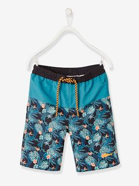 Swimwear-Two-Tone Swim Shorts for Boys, Exotic Motif