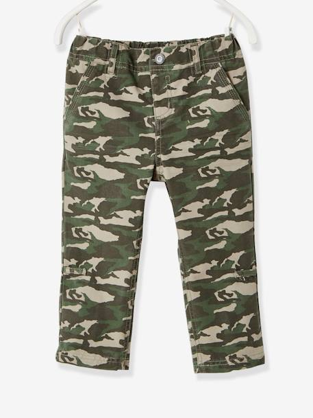 Boys' Indestructible Cropped Trousers, Convertible into Bermuda Shorts BLUE DARK SOLID+BROWN MEDIUM SOLID+GREEN DARK ALL OVER PRINTED+GREEN LIGHT SOLID+GREY DARK SOLID - vertbaudet enfant
