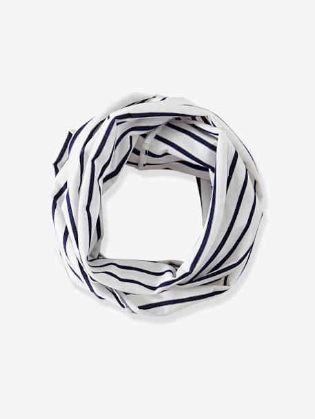 Striped Infinity Scarf for Babies BLUE DARK STRIPED - vertbaudet enfant
