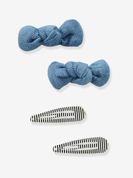 Set of 4 Assorted Hair Clips WHITE DARK TWO COLOR/MULTICOL - vertbaudet enfant