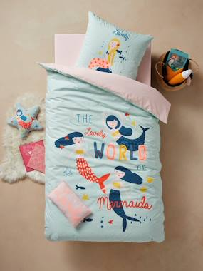 Vertbaudet Collection-Bedding-Children's Duvet Cover + Pillowcase Set, PRETTY MERMAIDS