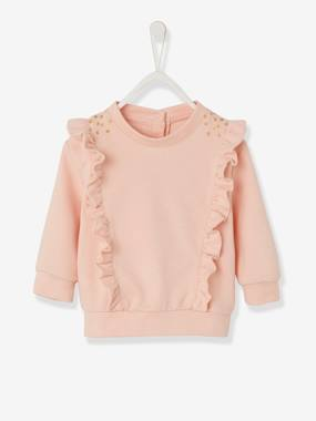Baby-Cardigans & Sweaters-Sweatshirt with Large Ruffles on the Front for Baby Girls