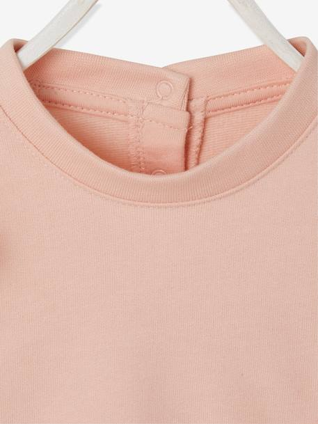 Sweatshirt with Large Ruffles on the Front for Baby Girls PINK LIGHT SOLID WITH DESIGN - vertbaudet enfant