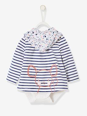 Baby-T-shirts & Roll Neck T-Shirts-Striped & Printed Bodysuit T-Shirt & Bib for Newborn Babies