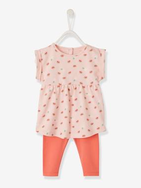 Vertbaudet Collection-Baby-Dresses & Skirts-Printed Dress + Leggings Outfit for Baby Girls