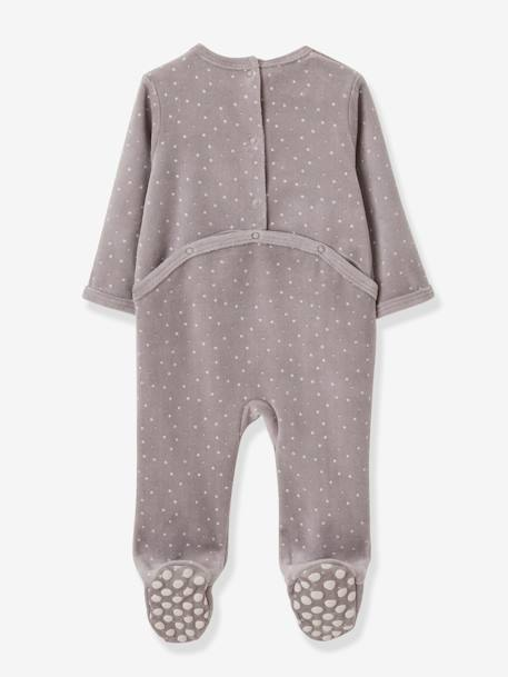 Pack of 2 Velour Sleepsuits for Babies, Press Studs on the Back GREY DARK TWO COLOR/MULTICOL - vertbaudet enfant