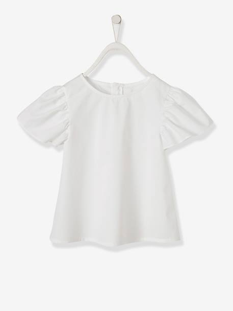 Wide-Sleeve Blouse for Girls WHITE LIGHT ALL OVER PRINTED - vertbaudet enfant