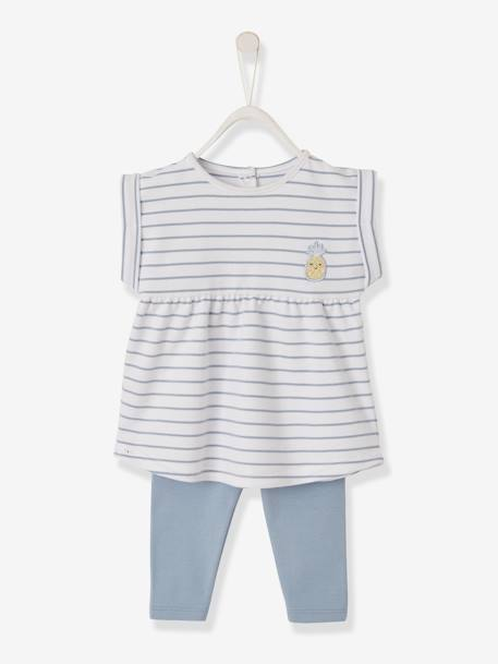 cb032636f Printed Dress + Leggings Outfit for Baby Girls - blue medium striped ...