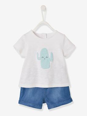 Baby-Outfits-Cactus T-Shirt + Denim Shorts Ensemble for Baby Boys