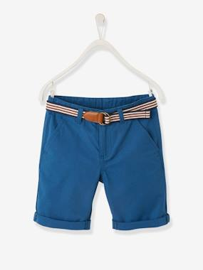 Vertbaudet Collection-Boys-Bermuda Shorts + Striped Belt, for Boys