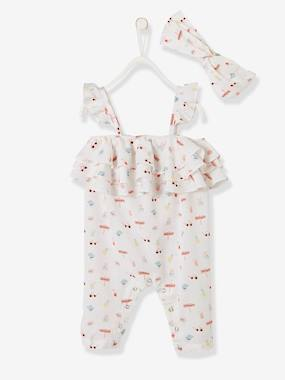 Baby-Dungarees & All-in-ones-2-Piece Ensemble for Baby Girls, Printed Jumpsuit + Headband