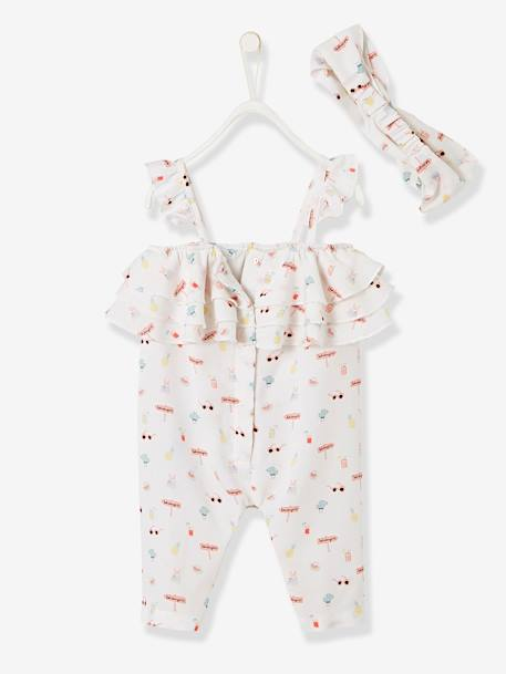 2-Piece Ensemble for Baby Girls, Printed Jumpsuit + Headband WHITE LIGHT ALL OVER PRINTED - vertbaudet enfant