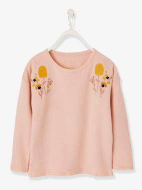 Girls-Cardigans, Jumpers & Sweatshirts-Jumpers-Top with Embroidered Iridescent Flowers for Girls