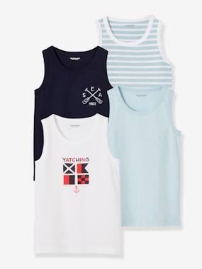 Boys-Underwear-Pack of 4 Vest Tops for Boys, Navy