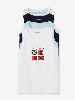 Vertbaudet Collection-Boys-Pack of 4 Vest Tops for Boys, Navy