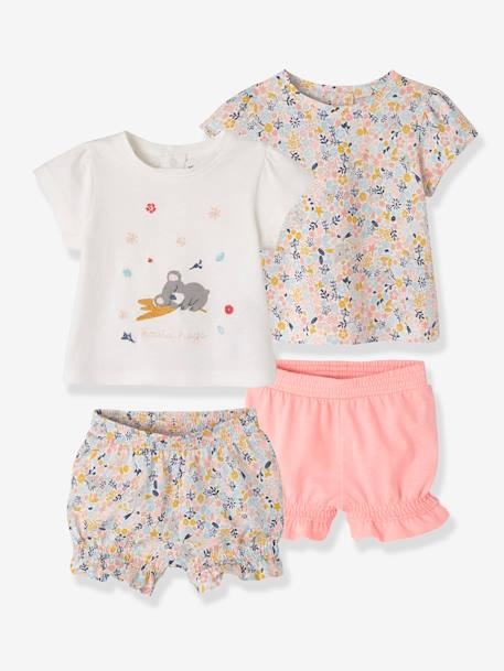 Pack of 2 Two-Piece Cotton Pyjamas for Babies WHITE LIGHT ALL OVER PRINTED - vertbaudet enfant