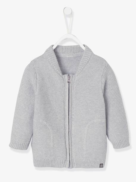 Gilet bébé garçon en tricot point mousse GRIS CLAIR CHINE+MARINE GRISE+ORANGE - vertbaudet enfant