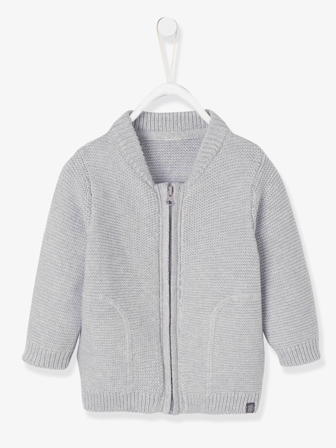 977f52ff6 Purl Stitch Knit Cardigan for Baby Boys - grey light mixed color