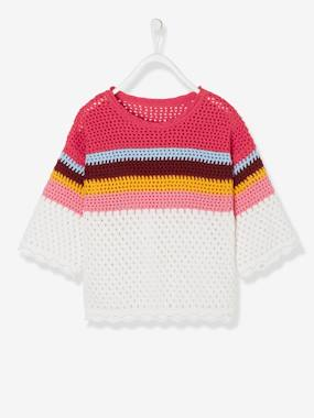 Girls-Cardigans, Jumpers & Sweatshirts-Crochet Top for Girls