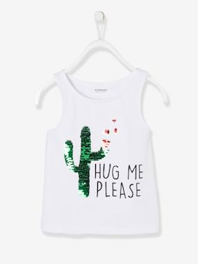 Girls-Tops-Top with Cactus & Reversible Sequins, for Girls