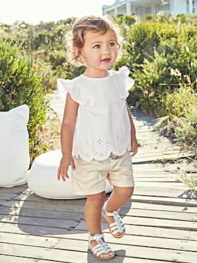 Vertbaudet Collection-Baby-Broderie Anglaise Blouse for Baby Girls