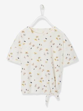 Bonnes affaires-Girls-Tops-T-Shirt with Knot on the Side, with Butterflies, for Girls