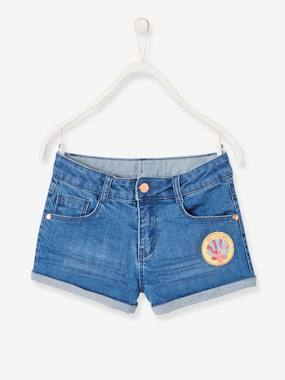 Girls-Shorts-Denim Shorts, Patch with Beads, for Girls