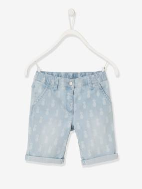 Girls-Shorts-Denim Bermuda Shorts with Pineapple Motif for Girls