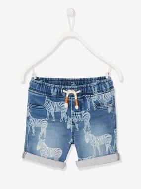 Boys-Shorts-Fleece Bermuda Shorts with Printed Zebras, for Boys