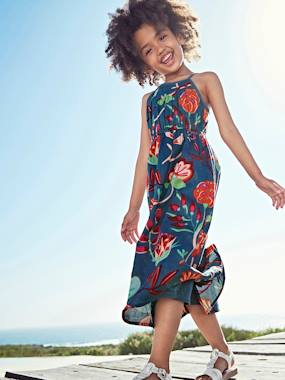 Girls-Long Dress with Flower Print, for Girls