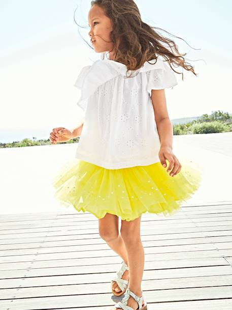 18d4c6d4ff2 Blouse with Ruffle in Broderie Anglaise for Girls - white light solid …