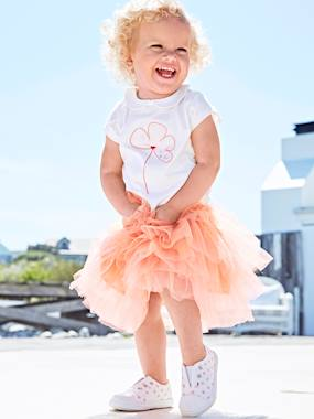 Vertbaudet Collection-Occasion Outfit: T-Shirt with Sequins & Skirt in Tulle, for Baby Girls
