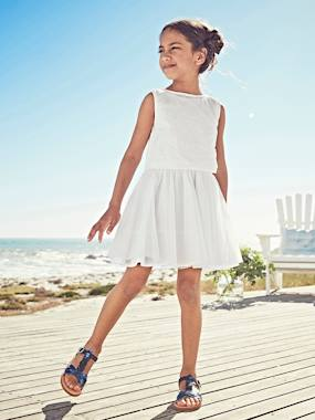 Vertbaudet Sale-Girls-2-in-1 Occasion Wear Dress with Top in Broderie Anglaise