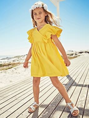 Vertbaudet Sale-Girls-Dress with Ruffles on the Sleeves for Girls