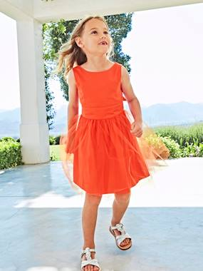 Vertbaudet Sale-Girls-Girls' Sateen & Tulle Occasion Dress