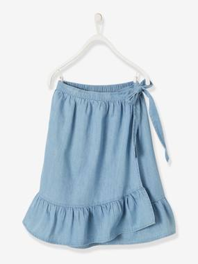 Girls-Skirts-Envelope-Type Skirt in Light Denim, for Girls