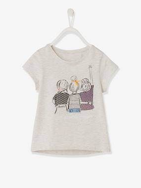 Vertbaudet Sale-Girls-Tops-T-Shirt with Best Friends in Embroidered Details for Girls