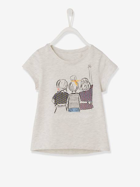 T-Shirt with Best Friends in Embroidered Details for Girls - grey light  mixed color, Girls