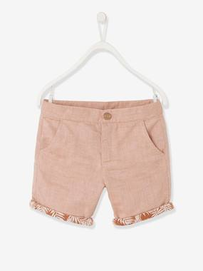 Boys-Shorts-Bermuda Shorts for Boys, with Printed Turn-Ups