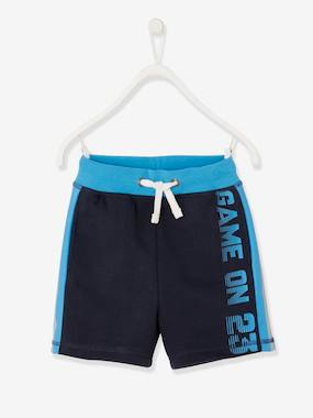 Boys-Sportswear-Sports Bermuda Shorts, in Fleece, Reflective Stripes, for Boys