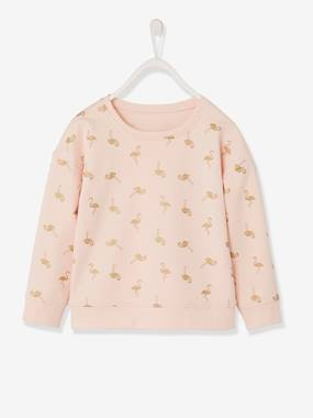 Fille-Pull, gilet, sweat-Sweat fille motifs flamants roses irisés