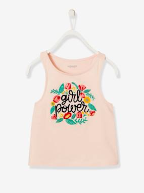 Bonnes affaires-Girls-Tops-Top with Embroidered Exotic Flowers, for Girls