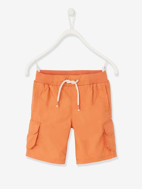 Bermuda Shorts with Pockets, for Boys ORANGE MEDIUM SOLID - vertbaudet enfant