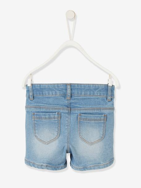 Denim Shorts with Frill for Baby Girls BLUE DARK WASCHED - vertbaudet enfant